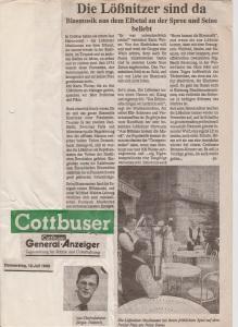 1990 Cottbuser General Anzeiger Fahrt nach Frankreich
